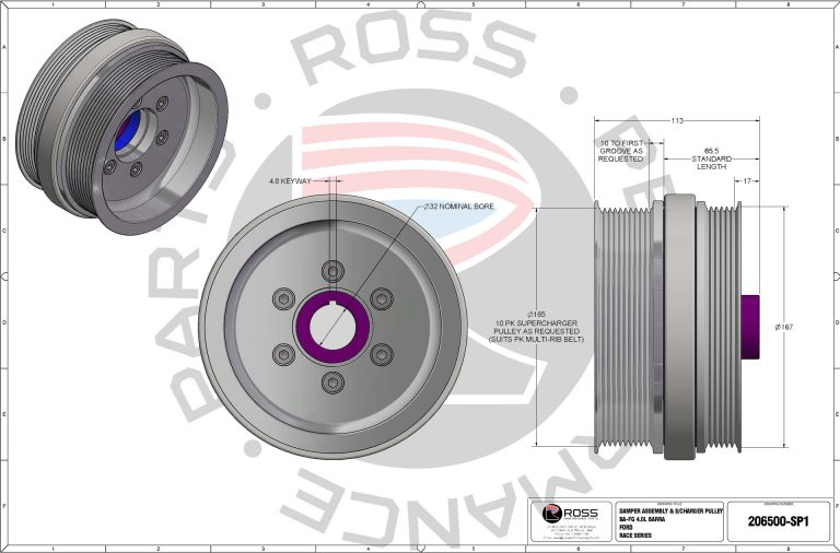 206500-SP1 Ford BA-FG 4.0L BARRA Harmonic Damper with Supercharger Pulley